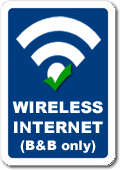 Wireless Internet (currently only in the Bed & Breakfast)